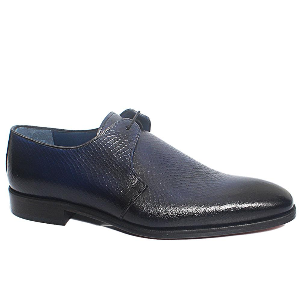 Blue Black Crast Croc Italian Leather Men Derby Shoes