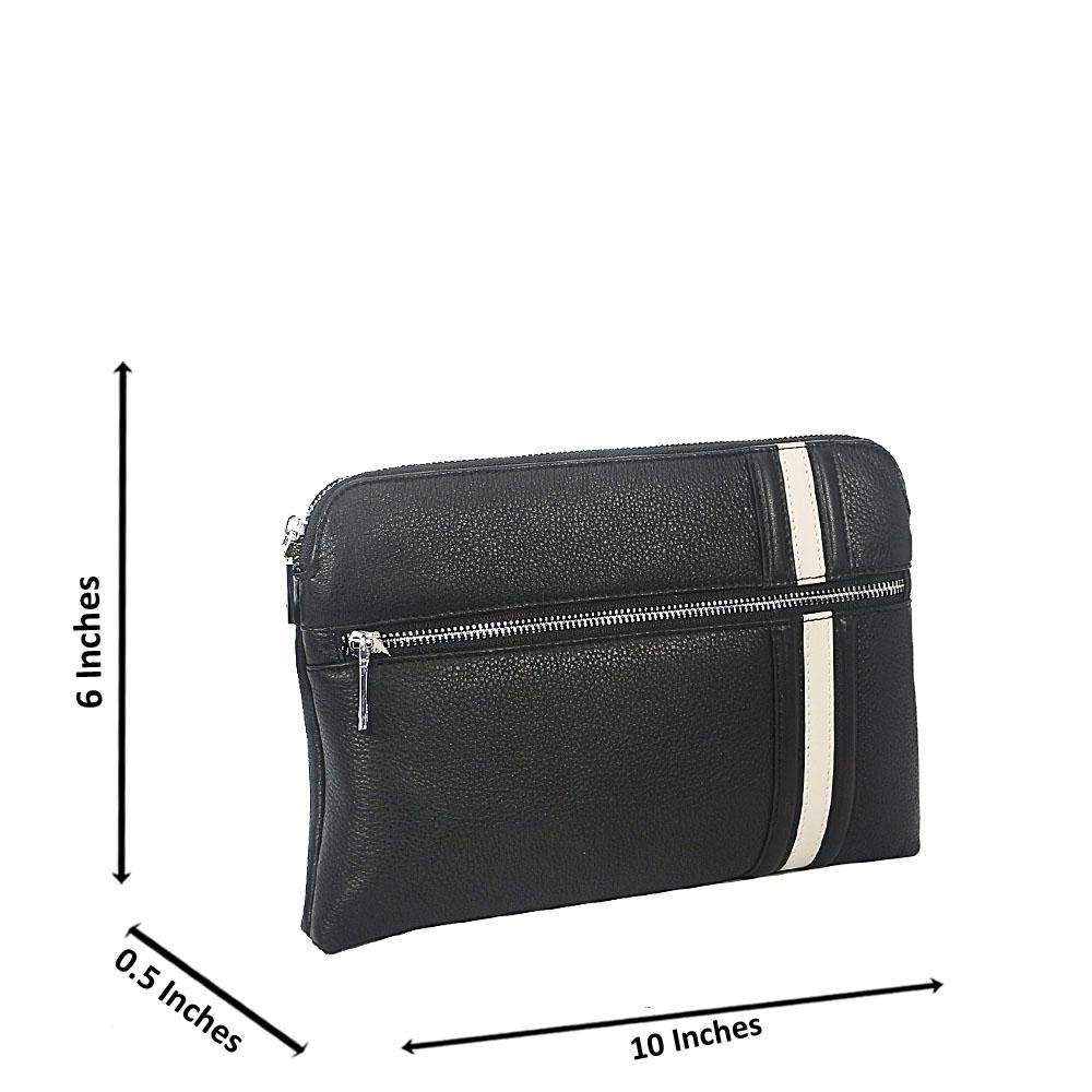 Black White Grain Montana Leather Flat Purse
