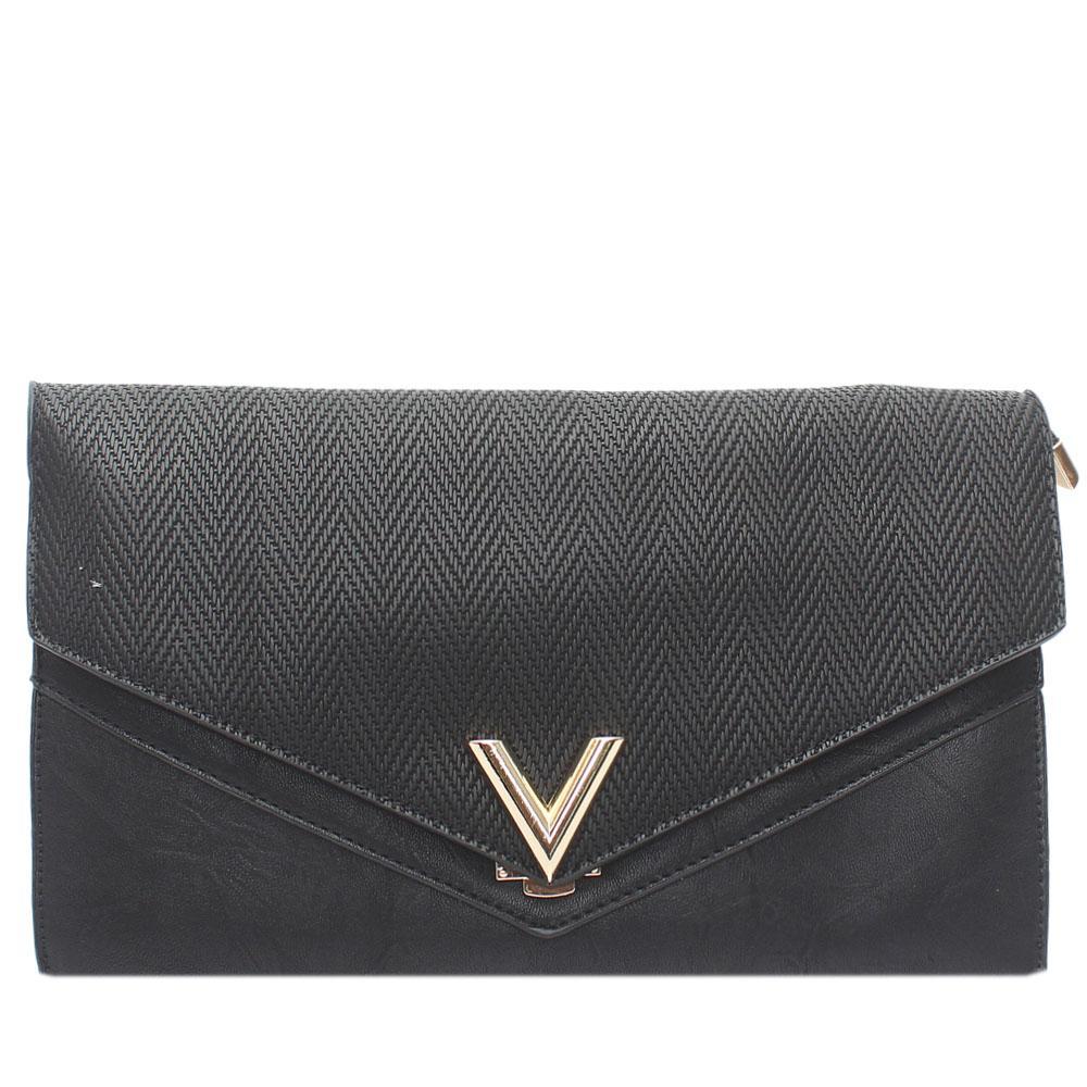 Black V Leather Flat Purse