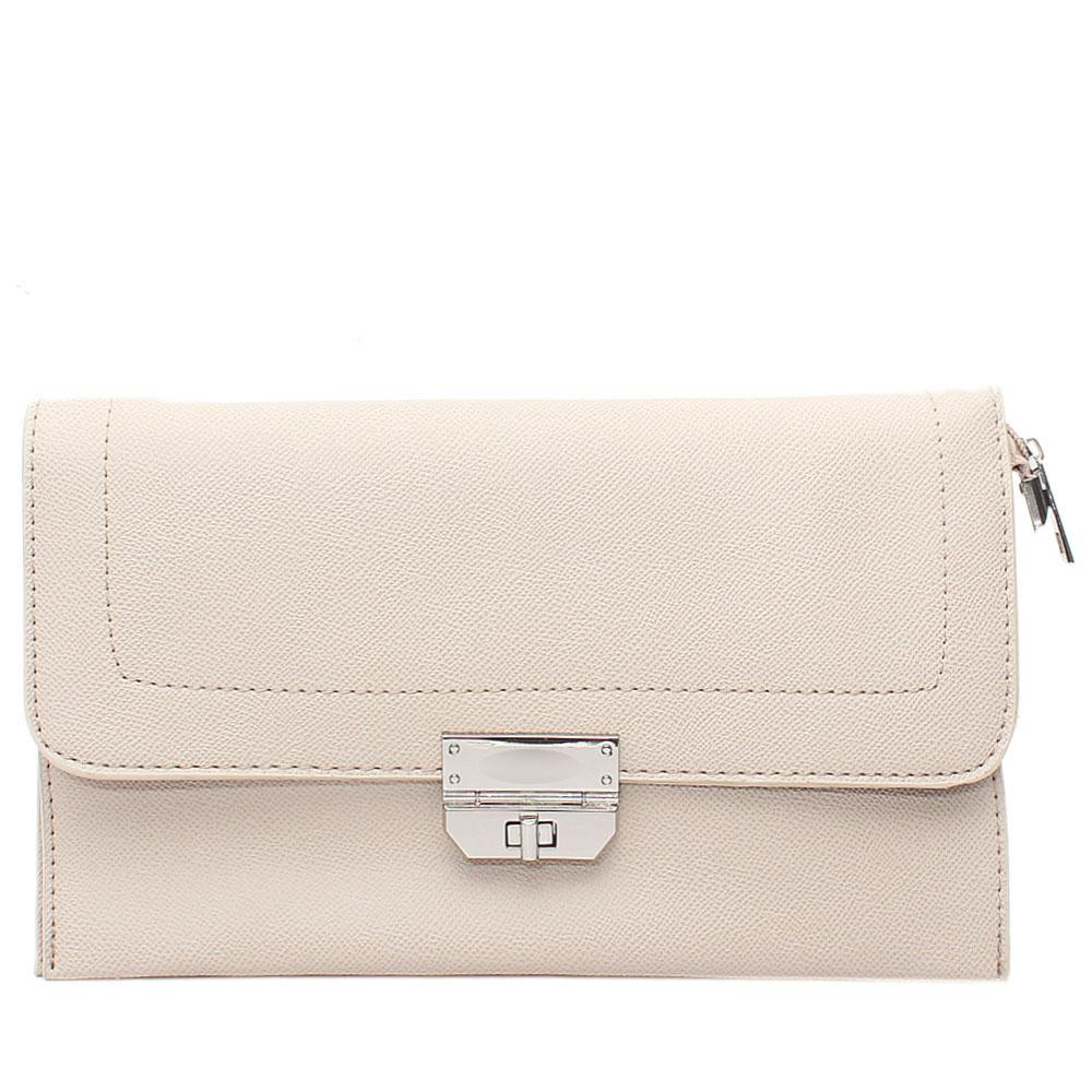 Khaki Nefelia Leather Flat Purse