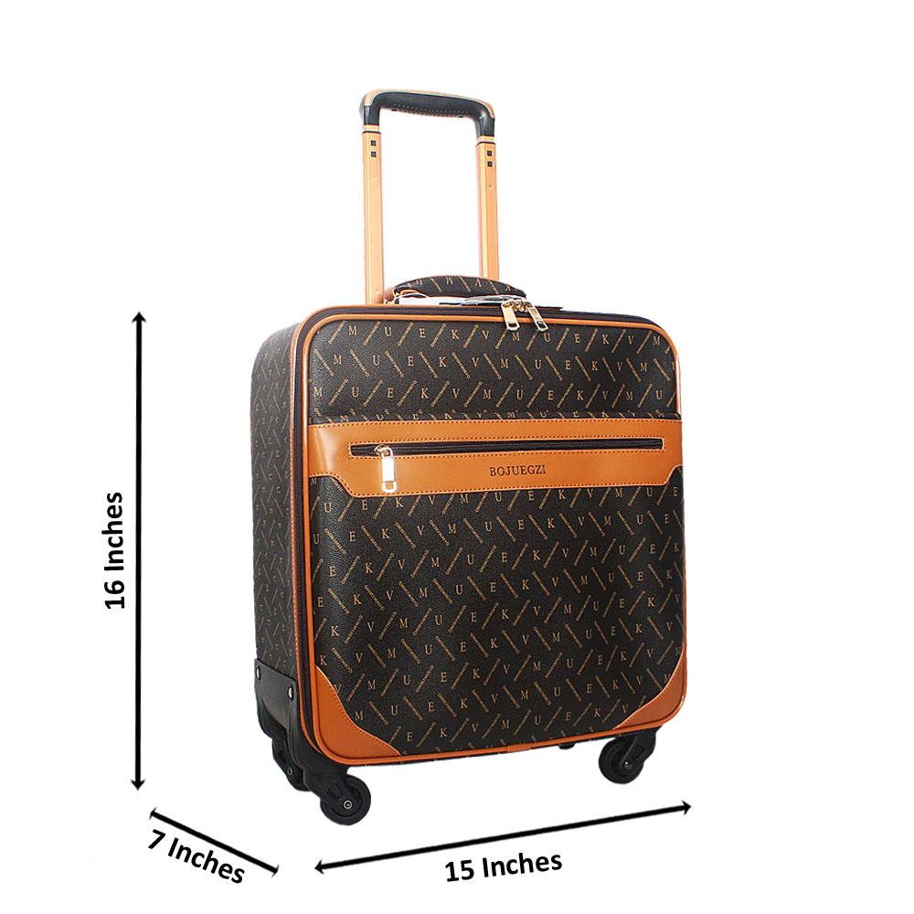 Coffee Brown Pattern 16 Inch Leather Pilot Suitcase Wt Lock