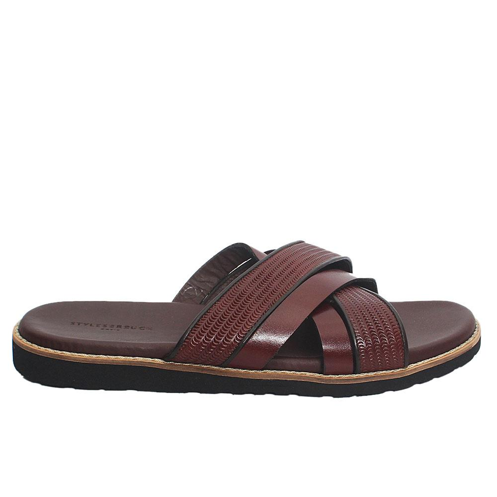 Brown Neon Italian Leather Men Slippers