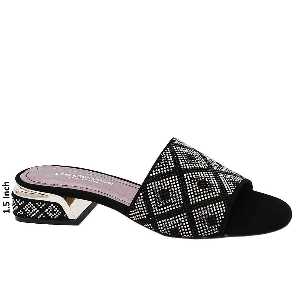 Black Studded Esmeralda Tuscany Suede Low Heel Slippers