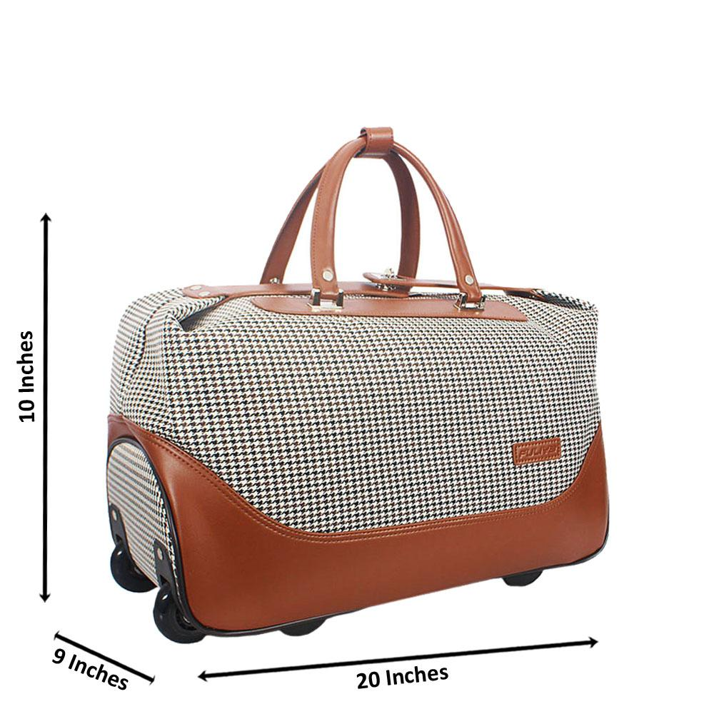 Brown white Cordura Fabric Leather Trolley Duffel Bag