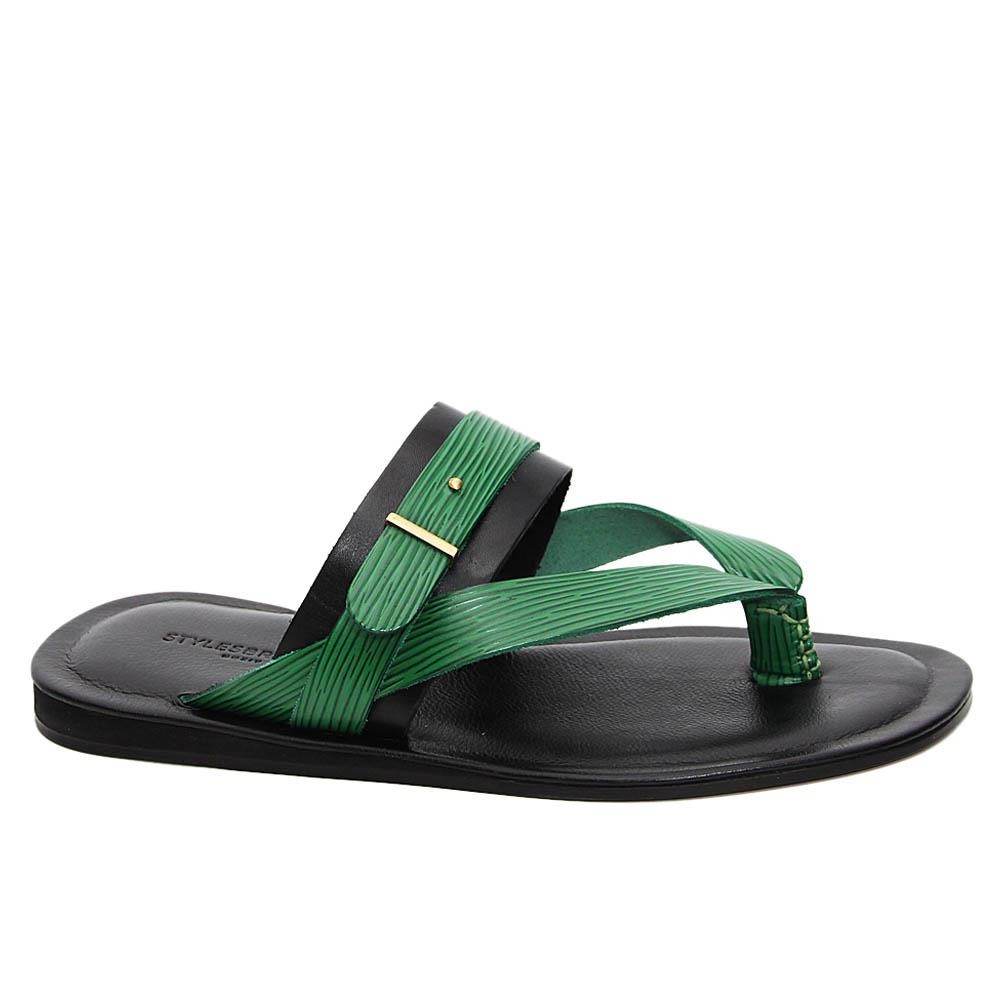 Green Black Diego Italian Leather Slippers
