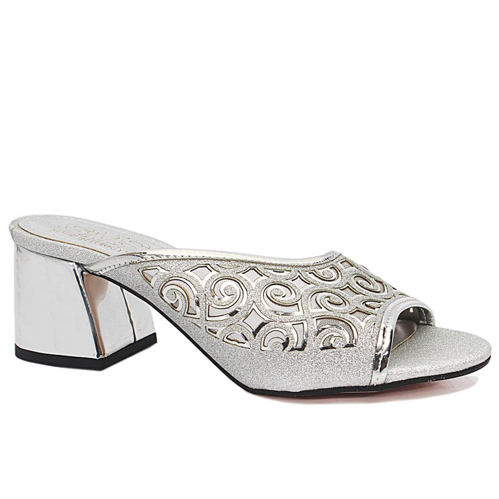 Leire Silver Open Toe Shimmering Leather Low Heel Slippers