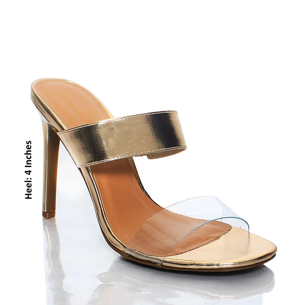Gold Transparent AM Agnesca Leather High Heel Mule