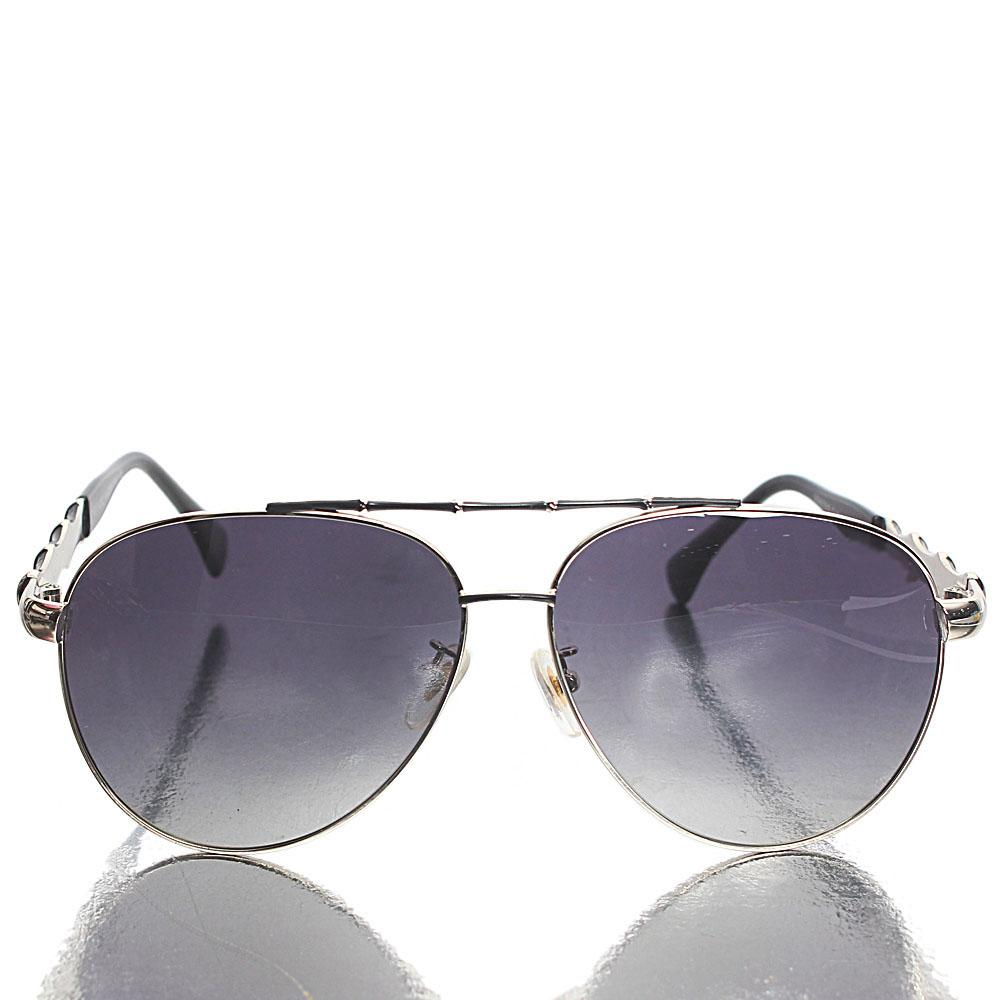 Silver Black Aviator Sunglasses