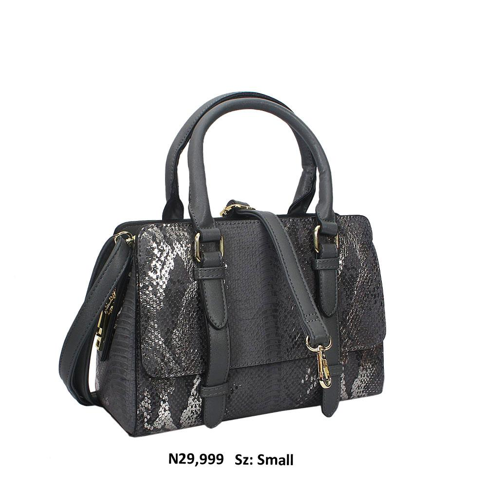 Grey Nadia Snakeskin Style Leather Tote Handbag