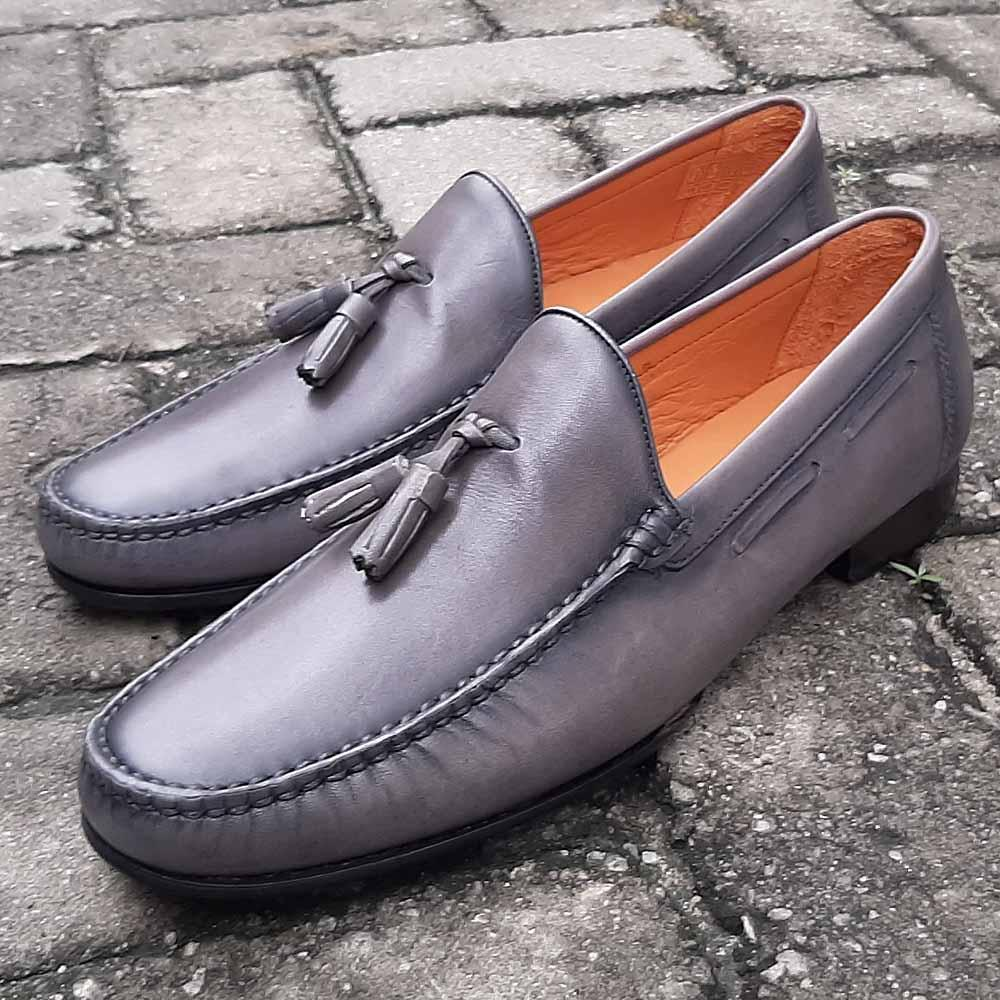 Gray Salvestro Italian Leather Men Tassel Loafers