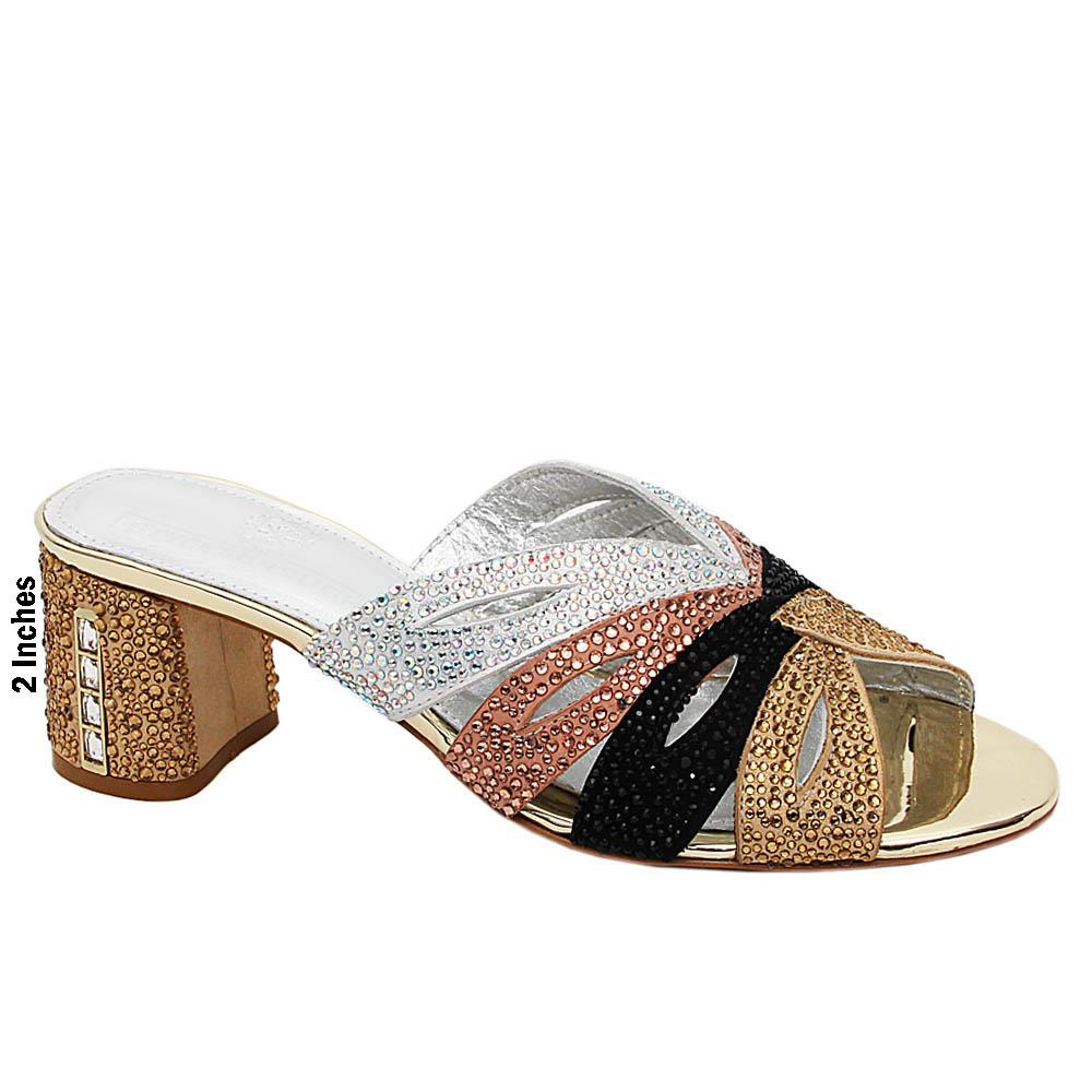 Gold Mix Concetta Studded Italian Leather Mid Heel Mule