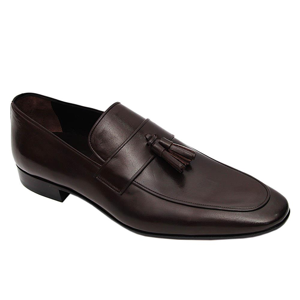 Coffee Gasparo Italian Leather Tassel Loafers