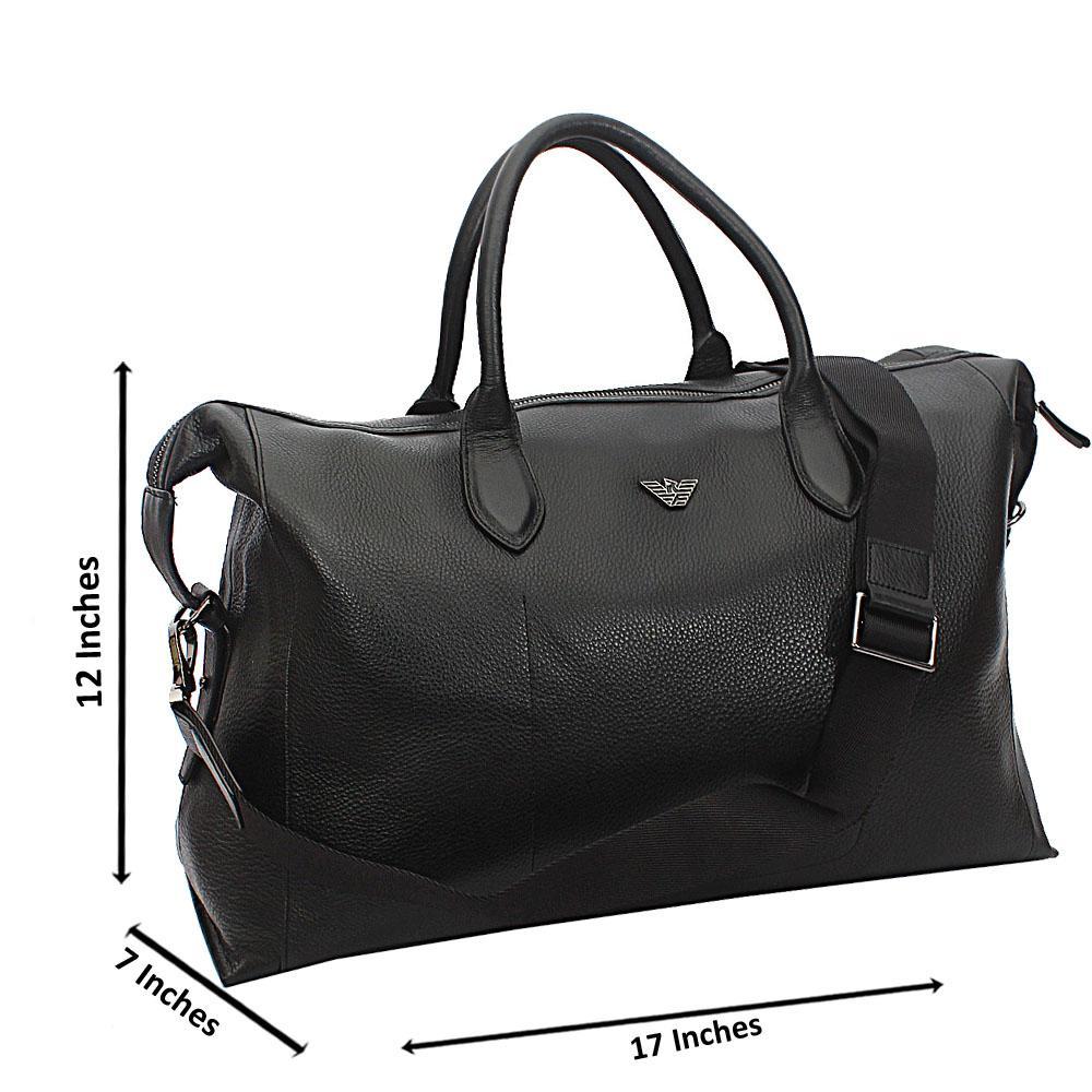 42360b23967a Armaeny Black Top Grain Cowhide Leather Duffel Bag