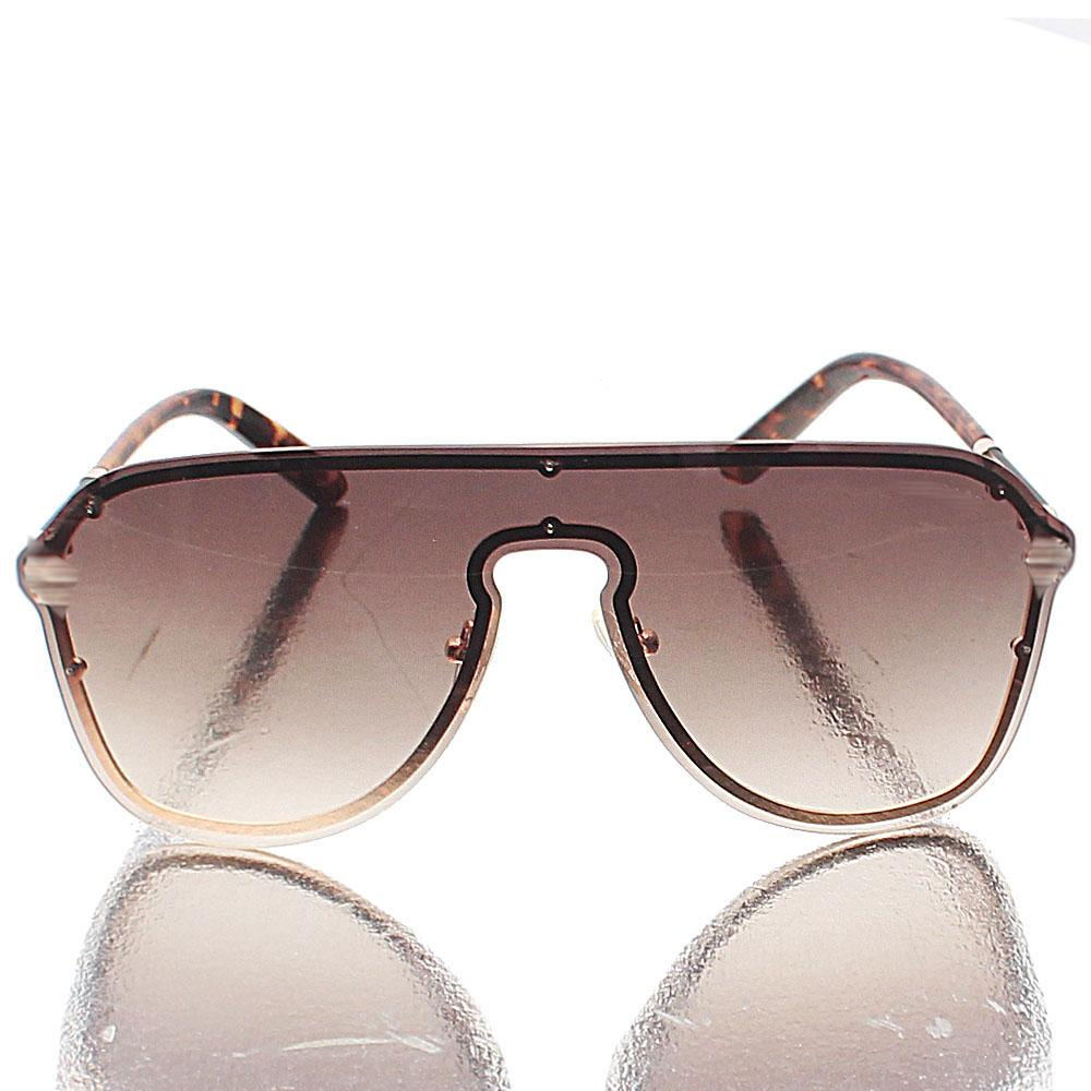 Rose Gold Shield Brown Lens Sunglasses