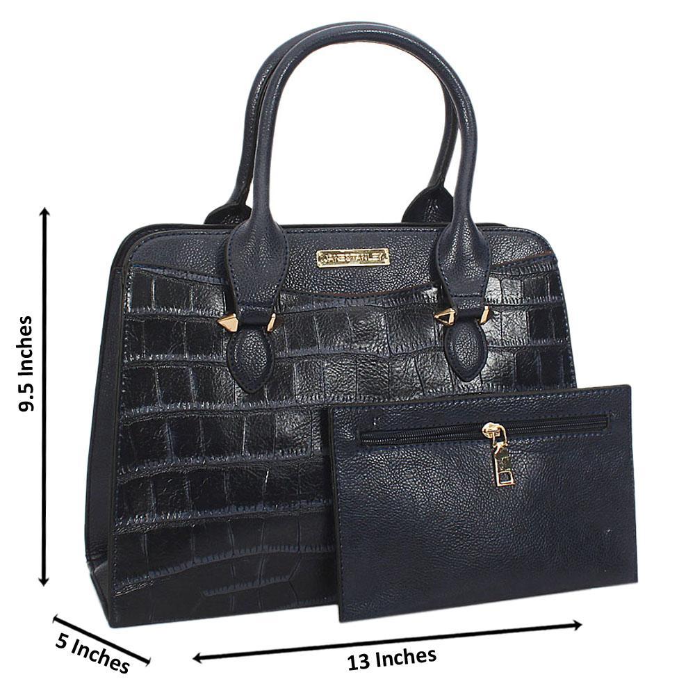 Jane Stanley Olivia Navy Croc Leather Tote Handbag