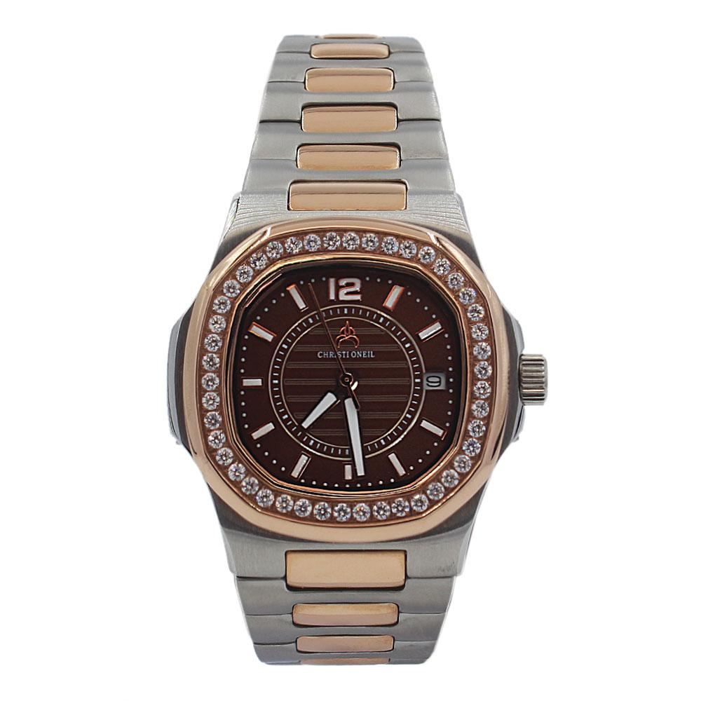 Rose Gold Silver Ice Brown Face Stainless Steel Ladies Watch