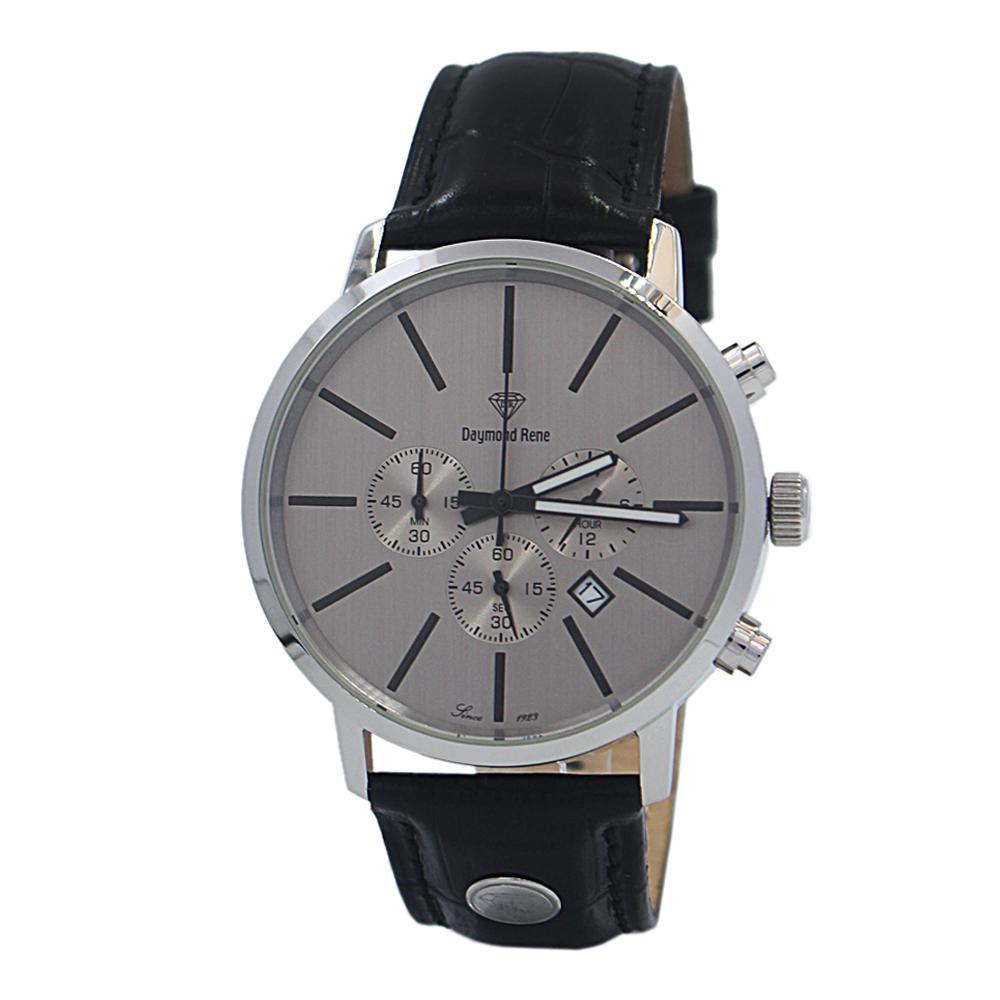 DR 5ATM Black Silver Leather Chronograph Watch