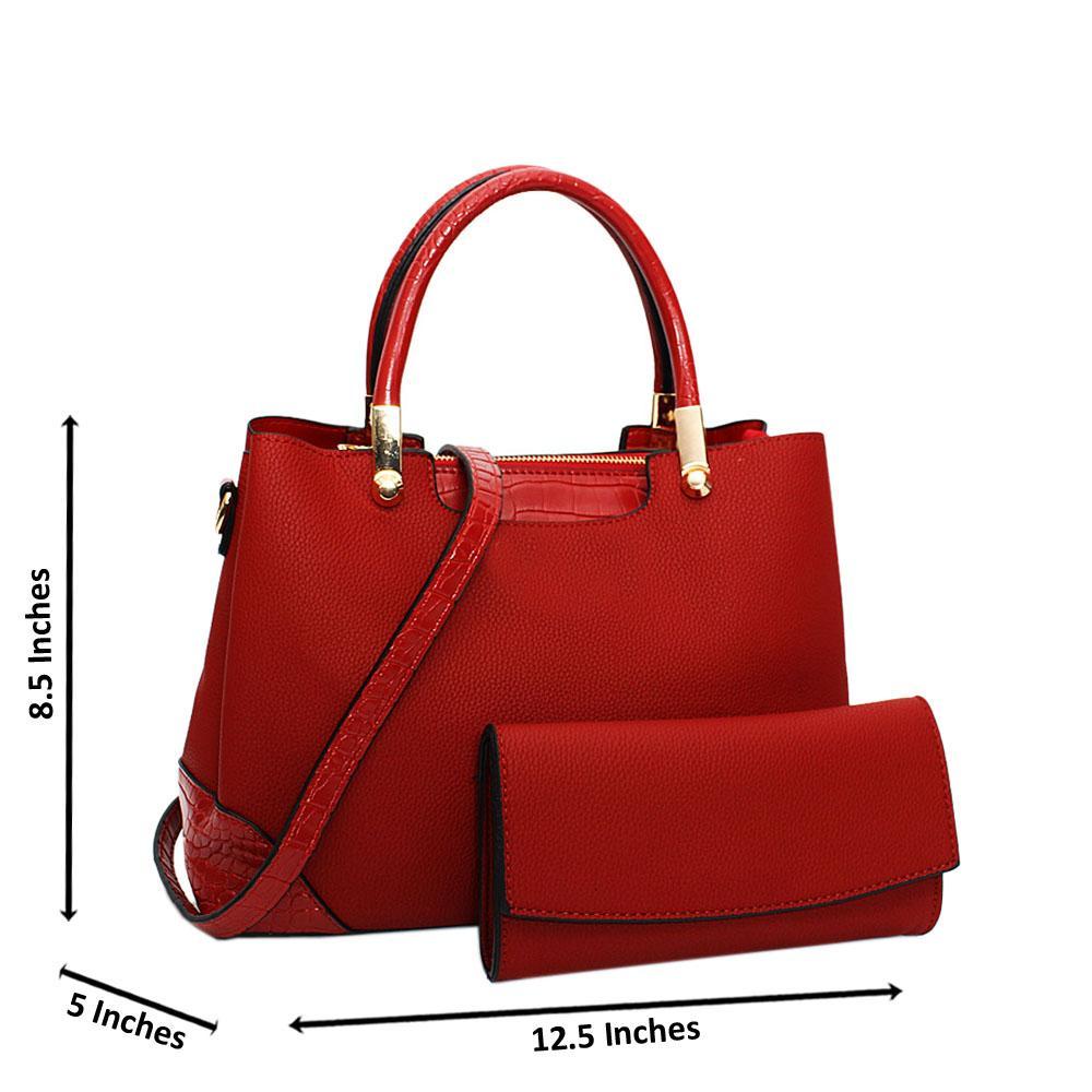 Red Soraya Leather Medium Tote Handbag