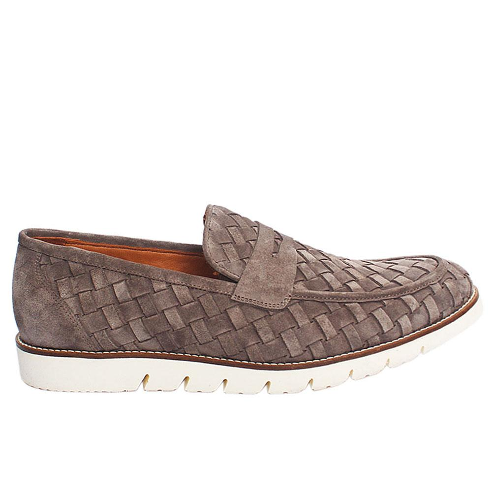 Gray Porter Woven Suede-Leather Italian Loafers