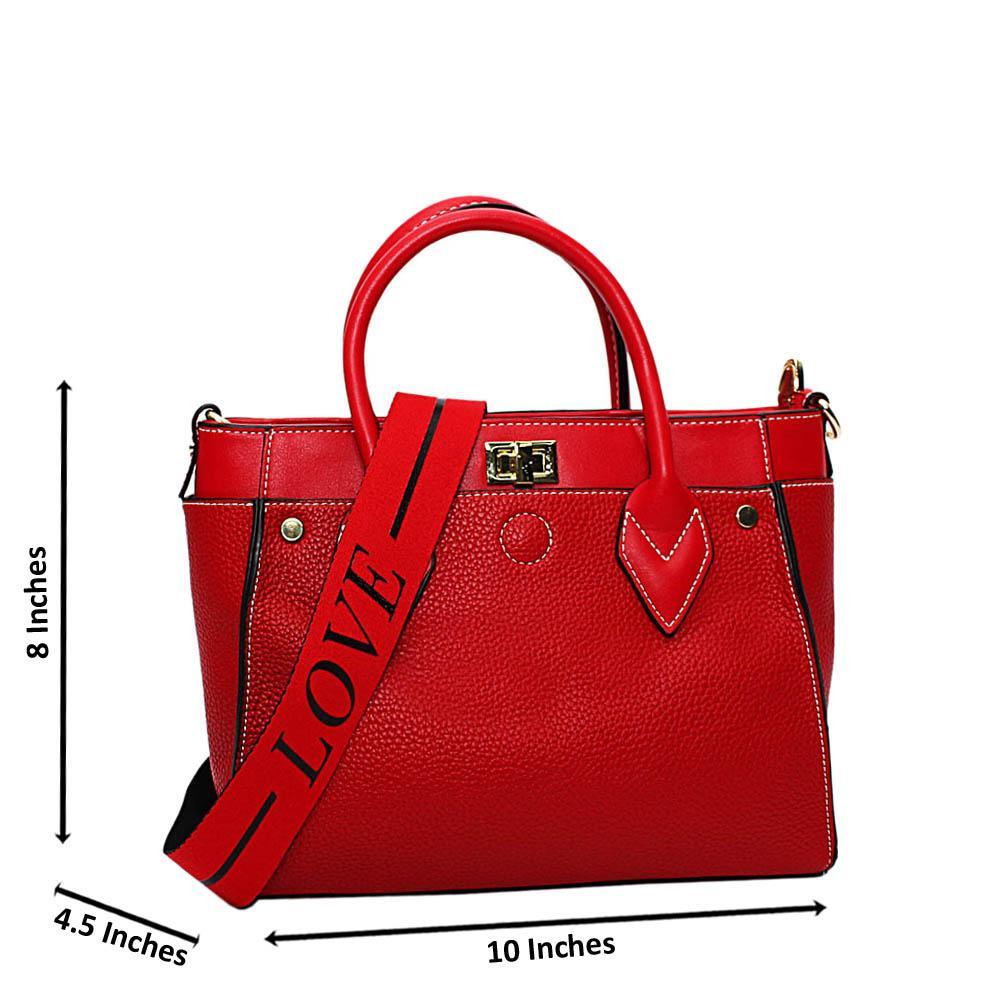 Red Jayla Leather Small Tote Handbag