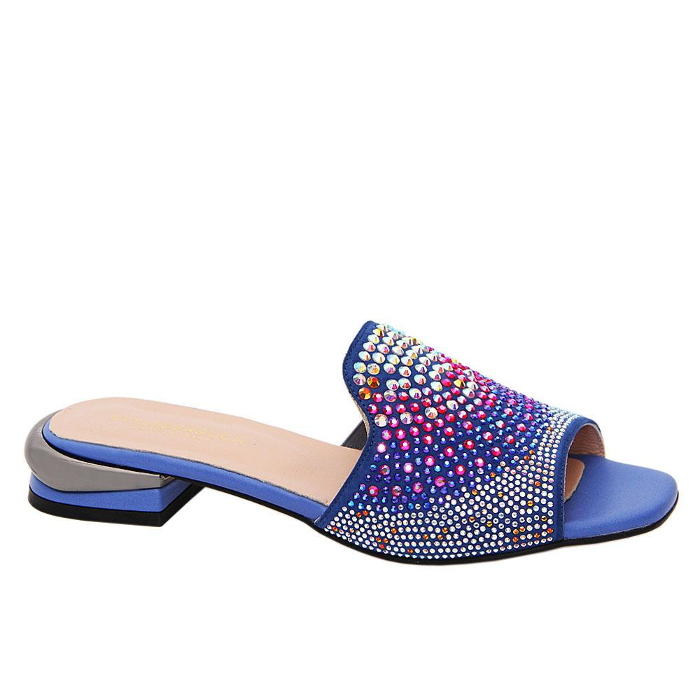 Blue Marissa Studded Tuscany Leather Low Heel Slippers
