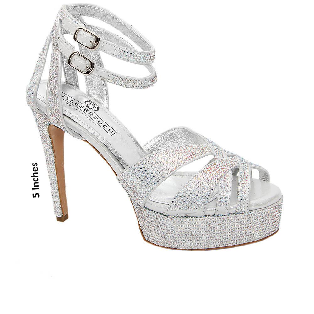 Silver Carolina Studded Italian Leather Platform Sandals