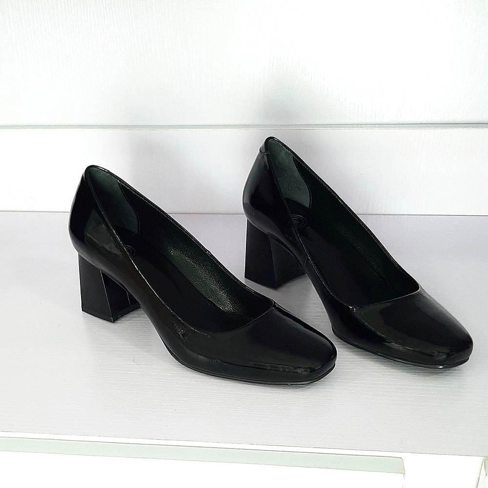 Black Sofia Patent  Italian Leather Block Heel Pumps