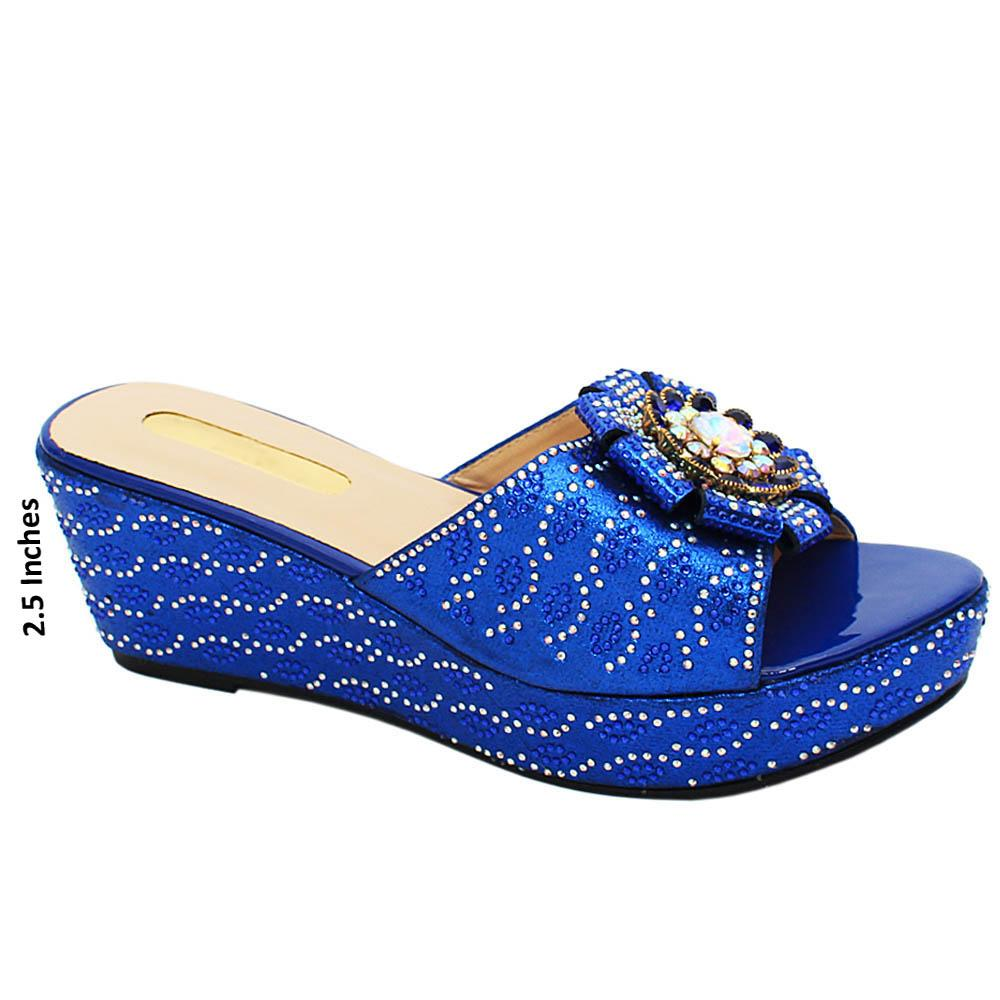 Blue katie Studded Leather Wedge Heels