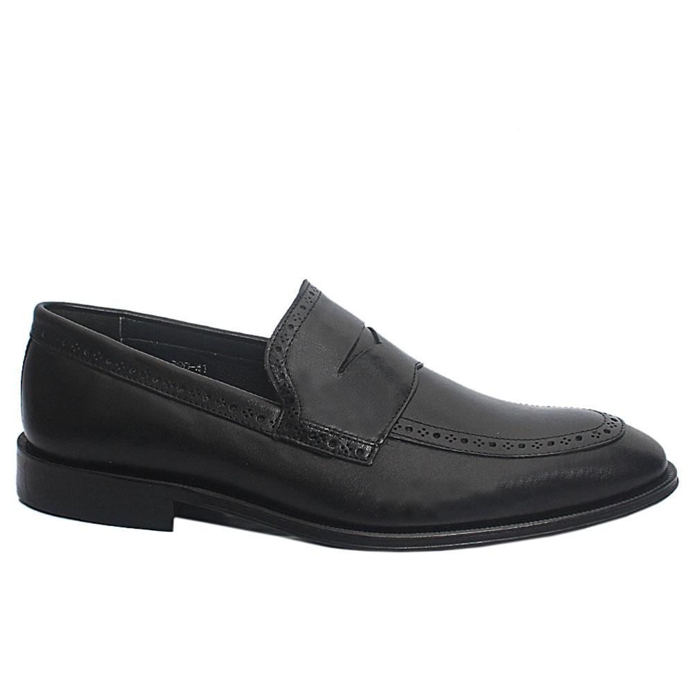 Black Hendrix Leather Penny Loafers