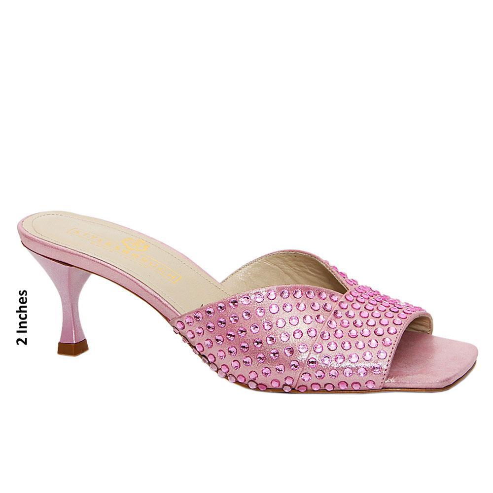 Soft Pink Nancy Studded Glitz Italian Leather Mid Heel Mule