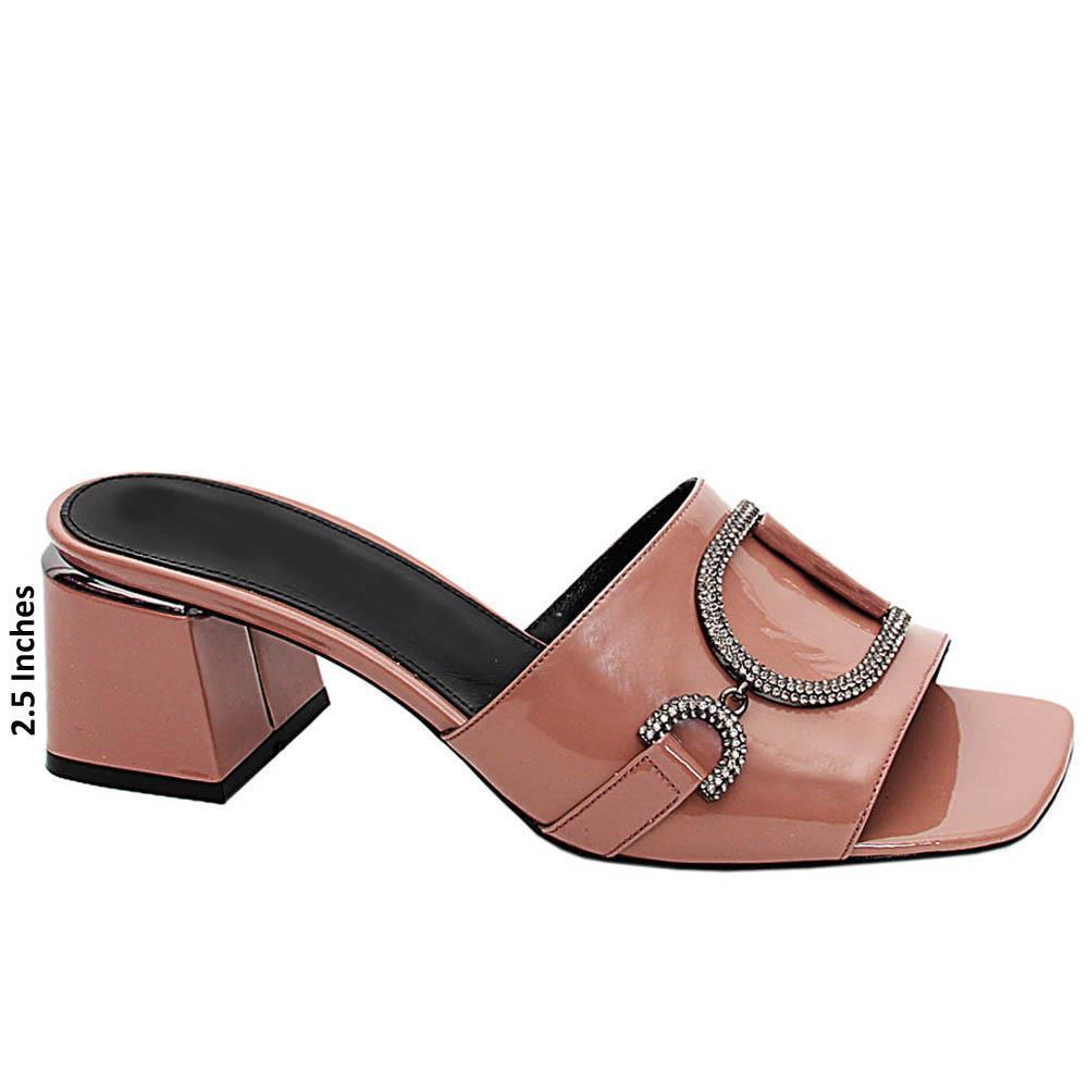 Nude Sofia Patent Italian Leather Mid Heels Mule