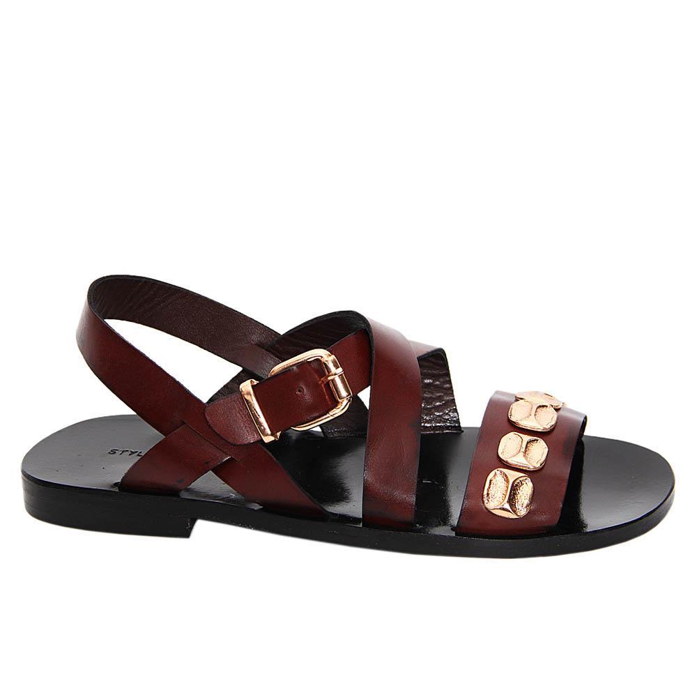 Coffee Sergio Ignacio Italian Leather Sandals