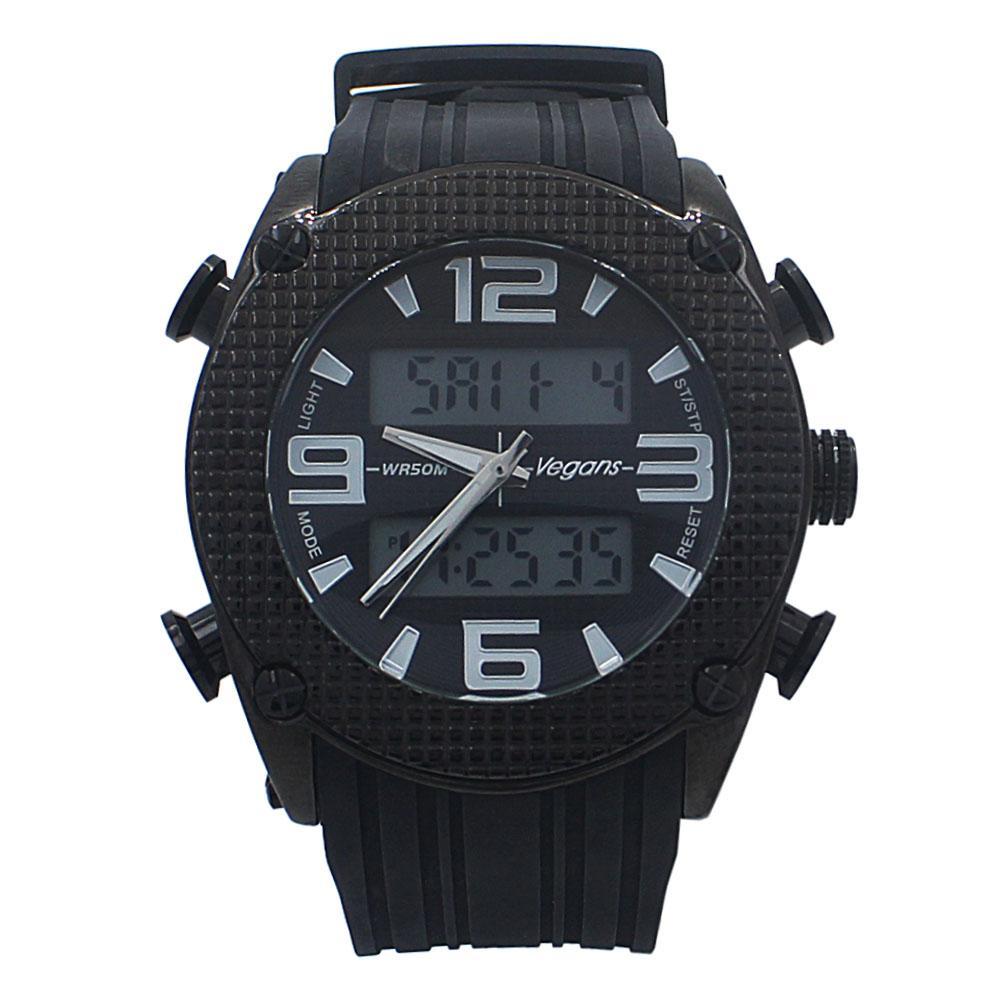 Black Rubber Water Resistant 50M Analog Digital Watch
