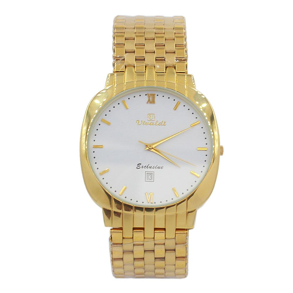 Gold-Troy-White-Face-Stainless-Steel-Fashion-Watch