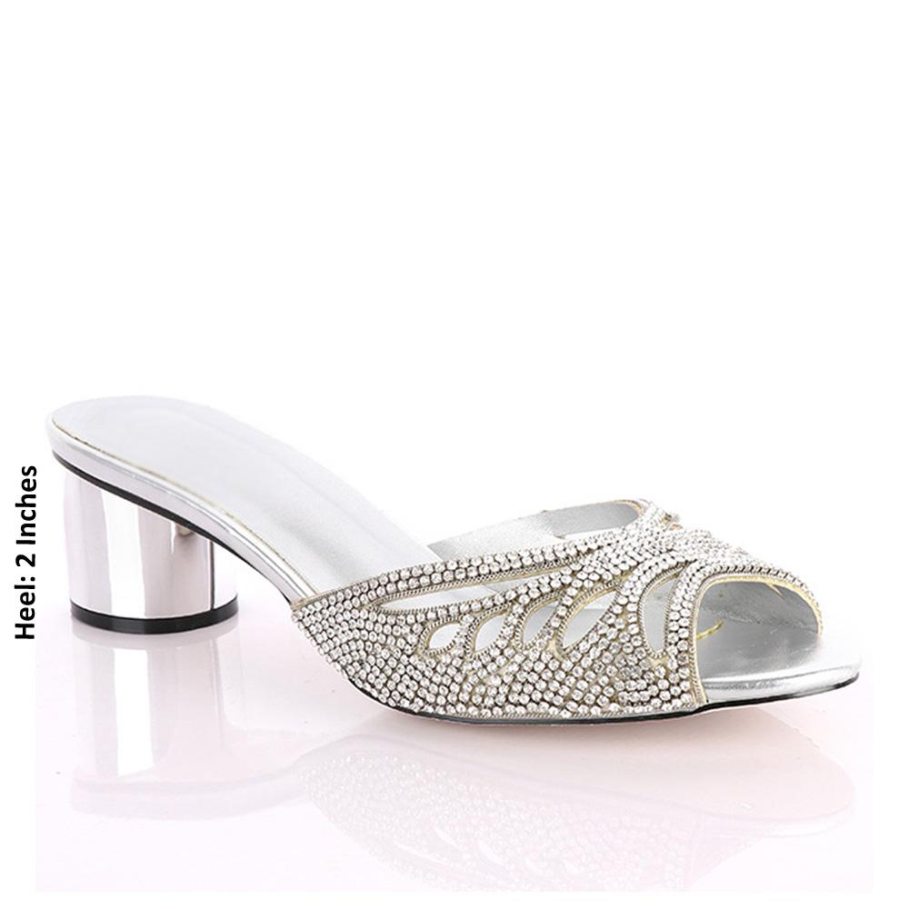 Silver Oxa Studded Leather Mid Heel Mules