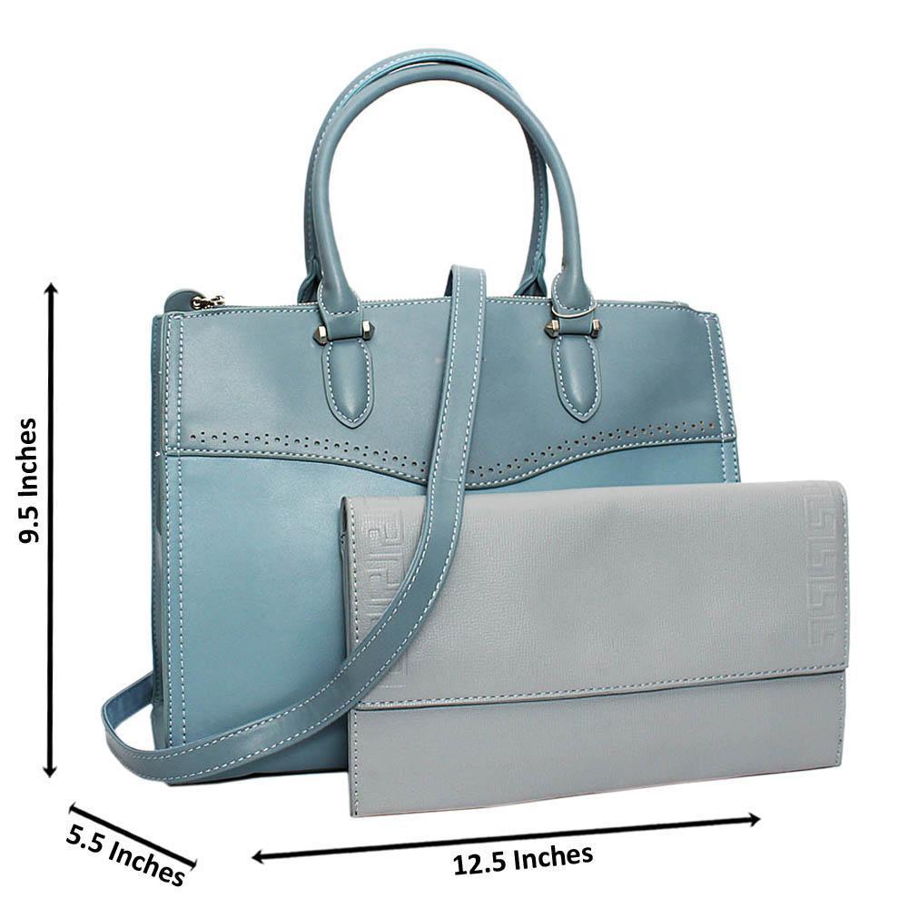 Sky Blue Ivy Leather Medium Tote Handbag Wt Clutch Purse