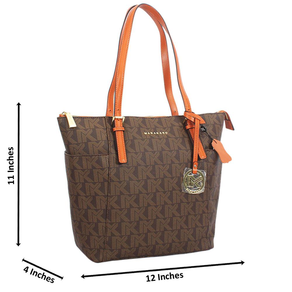 Brown Print Leather Long Strap Shoulder Handbag