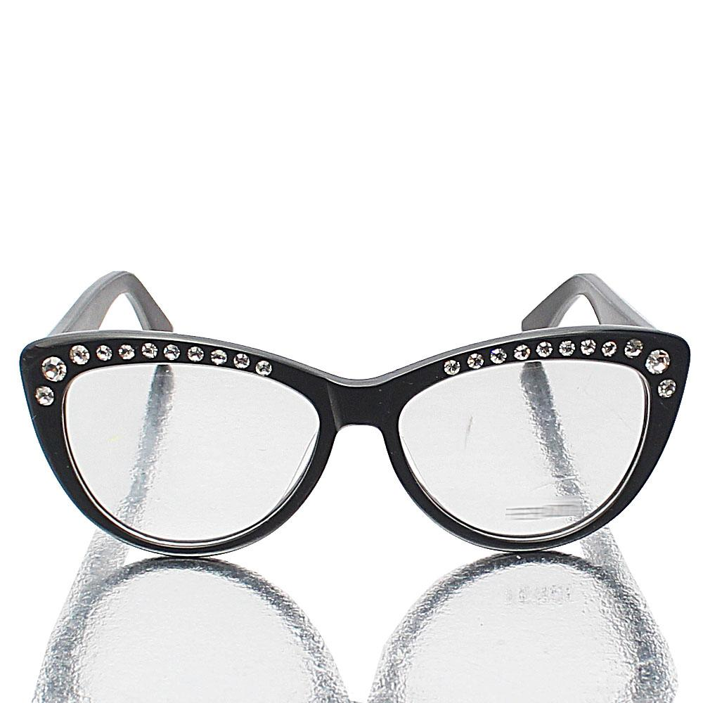 Black Studded Cat Eye Transparent Lens Glasses