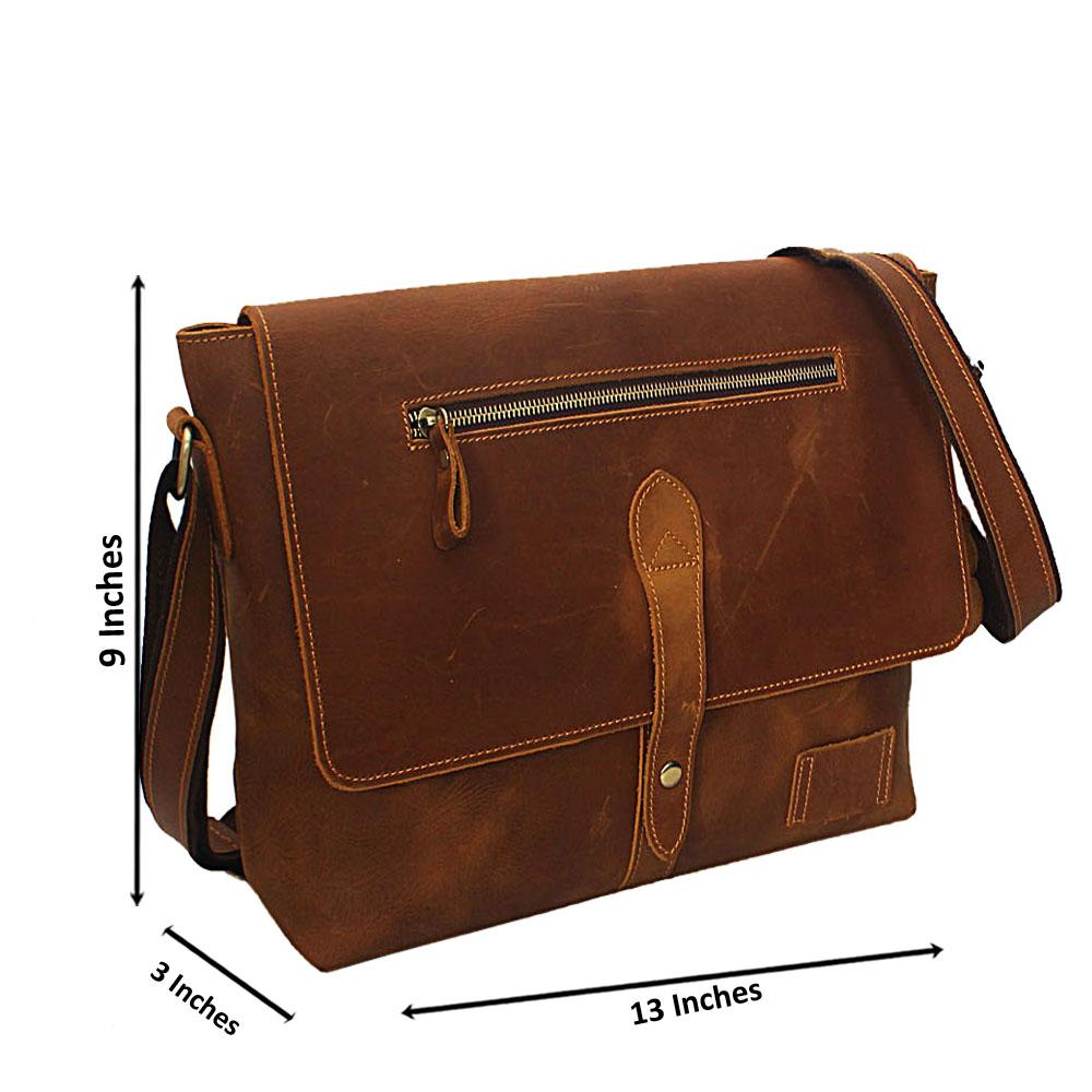 Light Brown Cowhide Leather Messenger Bag