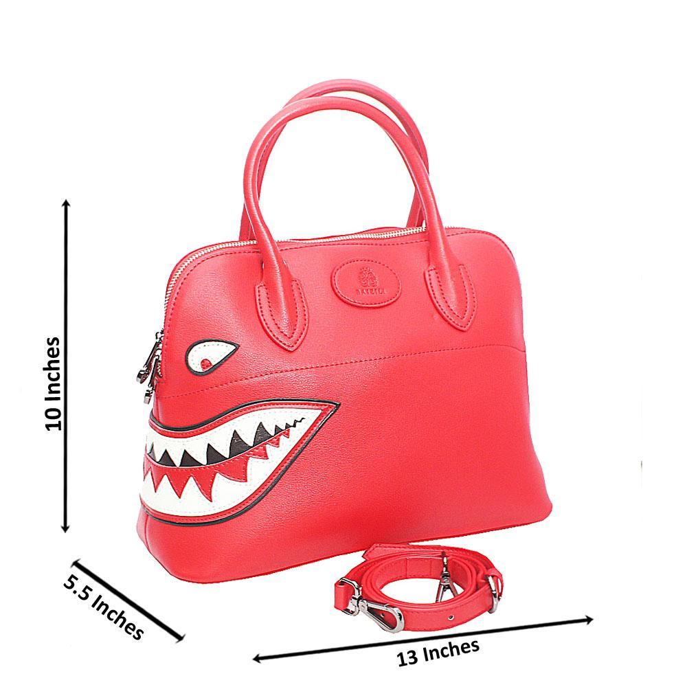 Baizili Red Dual Style Italian Leather Tote Handbag