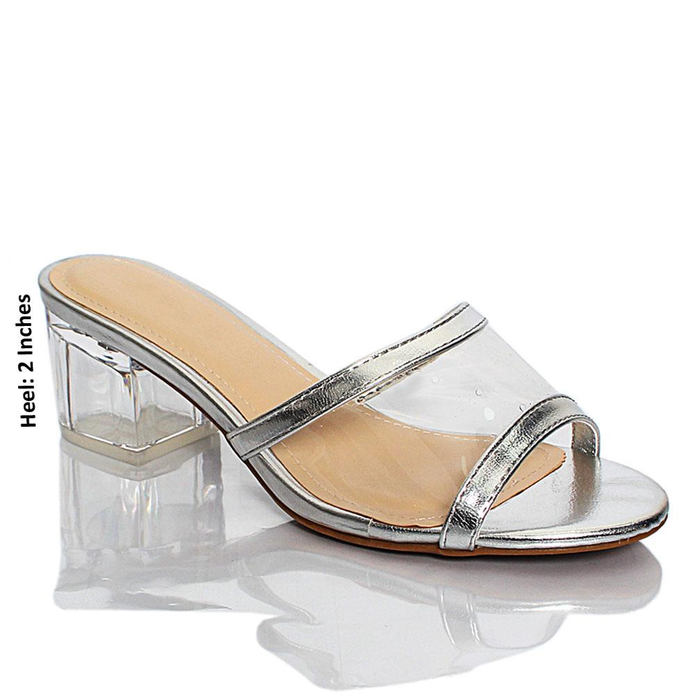 Silver Transparent Rubber Leather Block Heel Mule