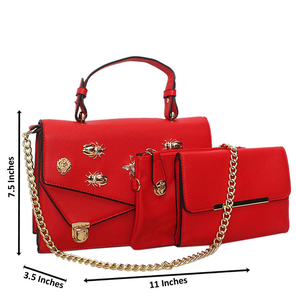 Red Gold Plated Leather Chain Top Handle Handbag