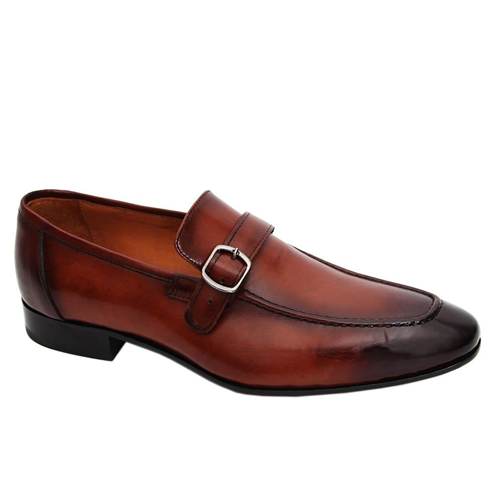 Brown Leandro Italian Leather Buckle Loafers