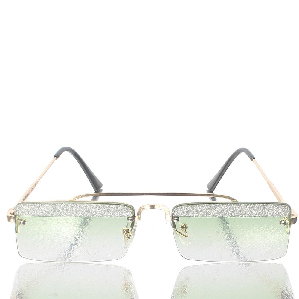 Gold Glitz Green LenRectangle Sunglasses