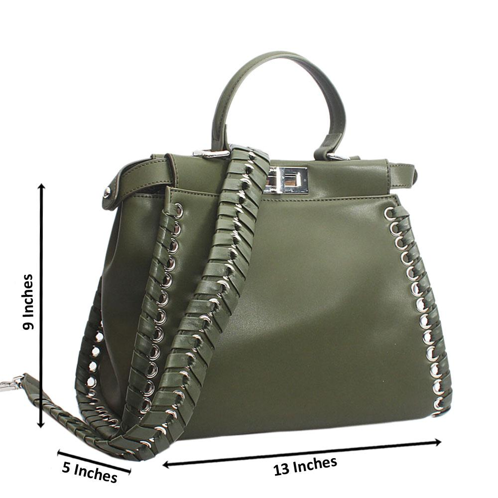 Stunning Green Peekabo Regular Top Handle Handbag
