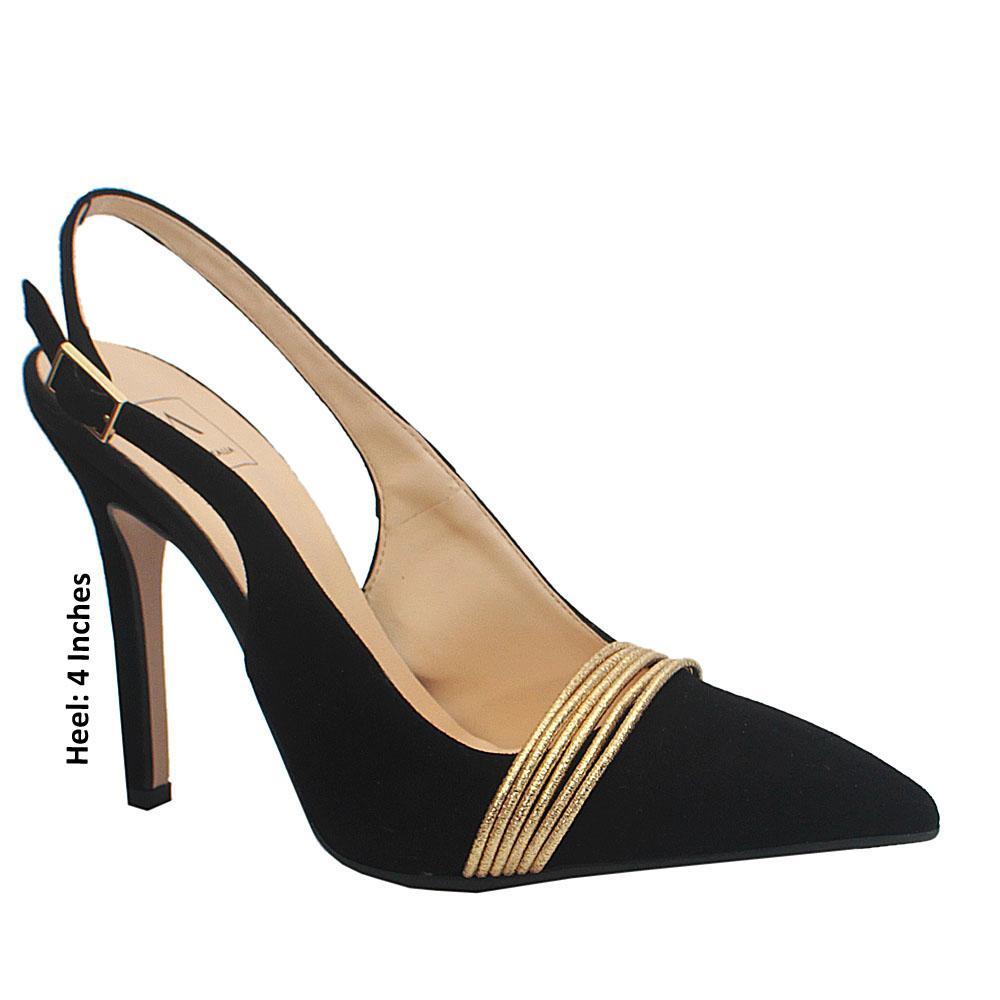 Black Pointed Toe Slingback Heels