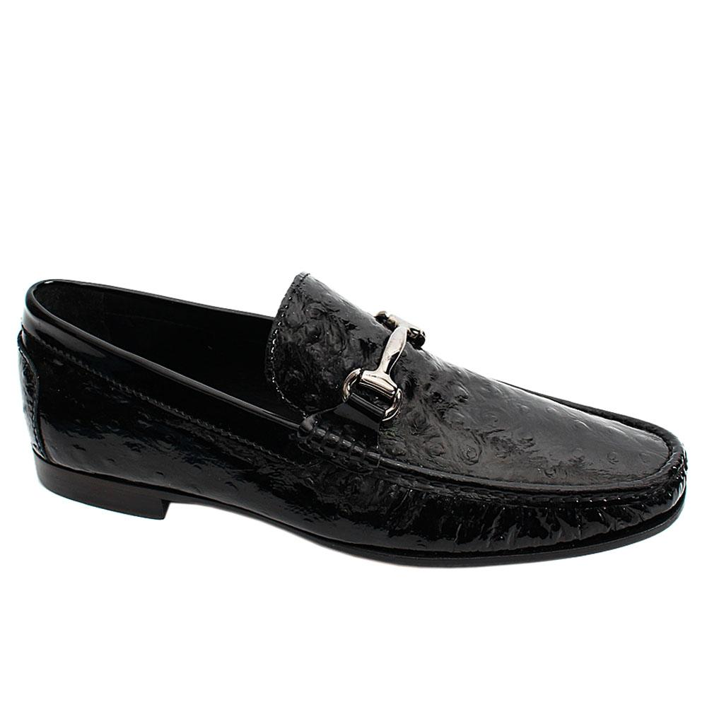 Black Peafowl Patent Italian Leather Men Loafers