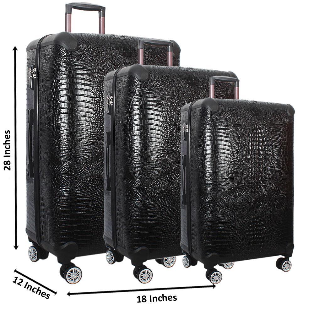 Black 28 Wt 24 and 20 Inch 3 in 1 Croc Leather Luggage Set Wt TSA Lock