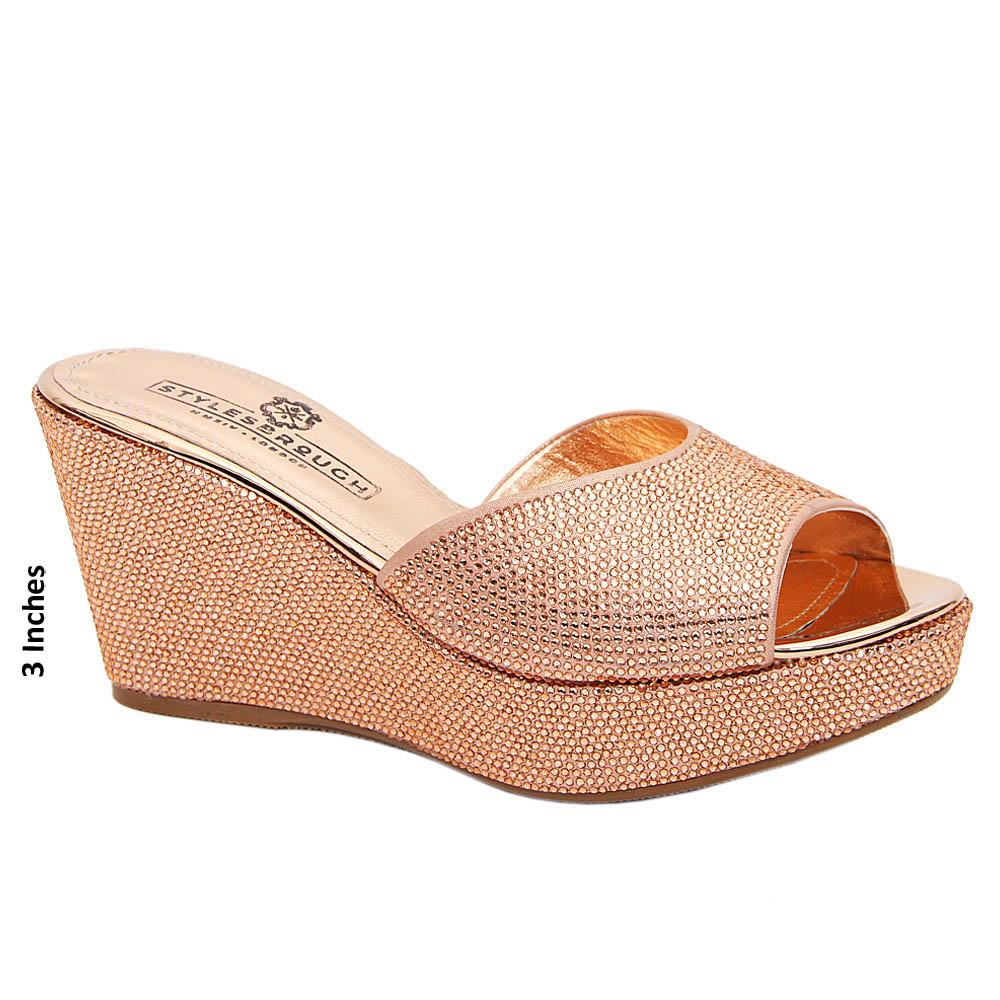 Rose Gold Janelle Studded Italian Leather Wedge