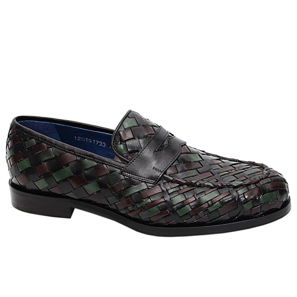 Green-Mix Fabrizio Woven Italian Leather Penny Loafers